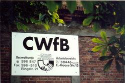 Werkstattschild, 1992 in der Ewald-Haase-Straße.