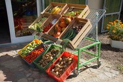 Gemüsestiegen vor dem Hofladen.