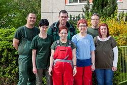 Mitarbeiter und Gruppenleiter der Außenarbeitsgruppe der Cottbuser Kita Hopfengarten.